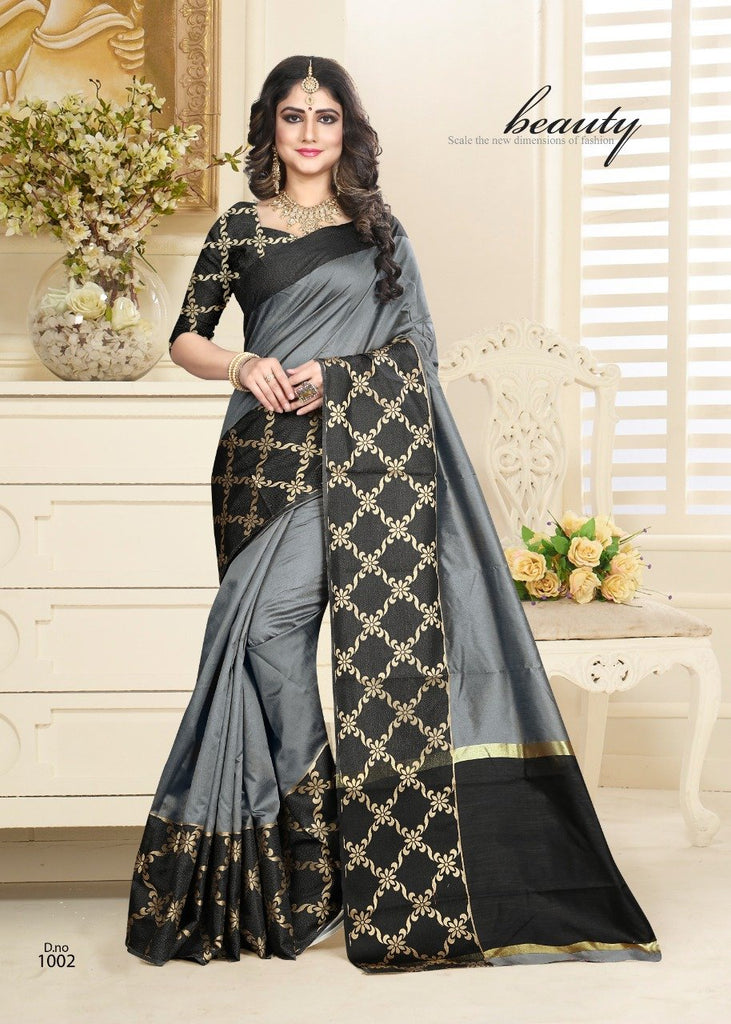 Refreshing Black and Grey Colored Casual Cotton Silk Jacquard Saree