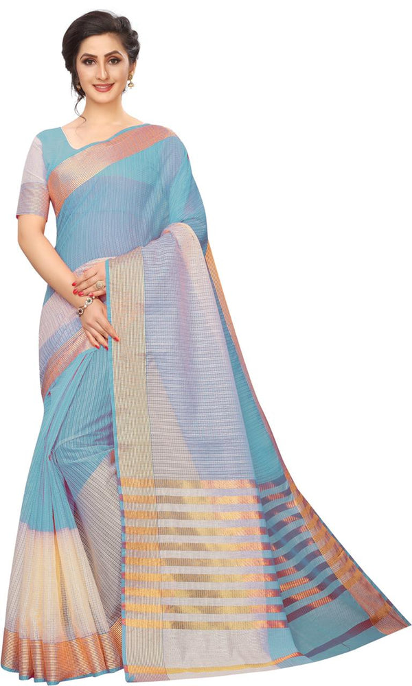 Adorning Sky Blue Colored Festive Wear Soft Cotton Saree