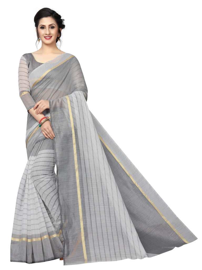 Trendy Grey Colored Festive Wear Cotton Silk Saree