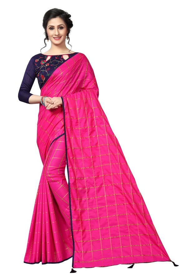 Ethnic Pink Colored Printed Sana Silk Saree With Embroidered Blouse