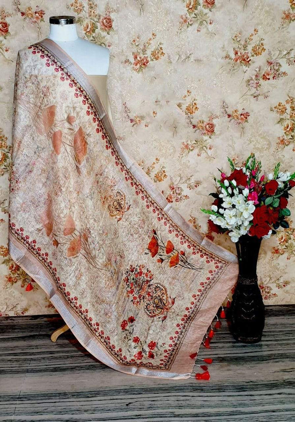 Attractive Peach Designer Digital Linen Dupatta