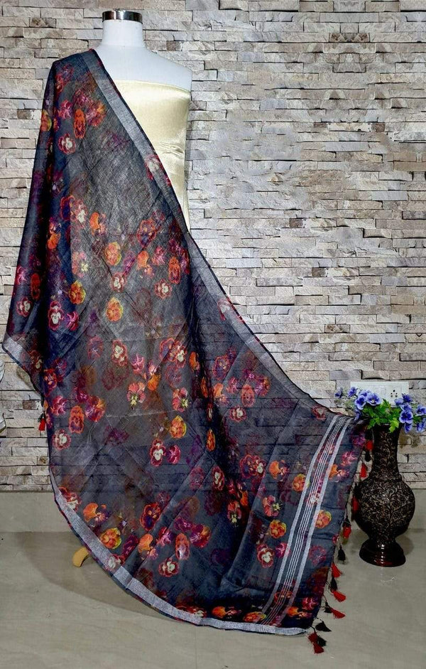 Beautiful Black Floral Design Digital Linen Dupatta