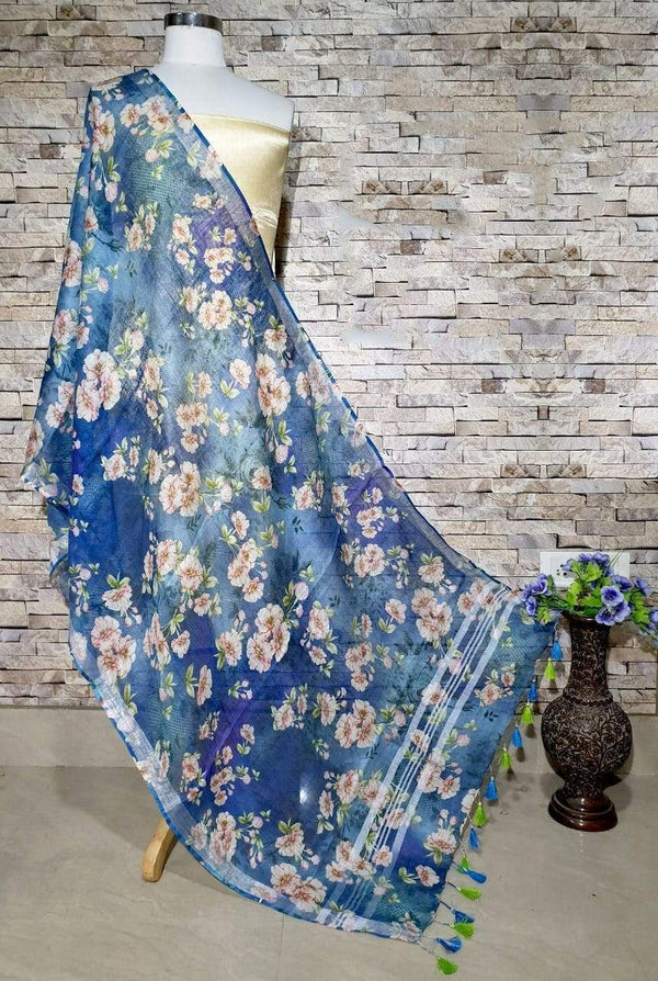 Enticing Dark Blue Floral Print Digital Linen Dupatta