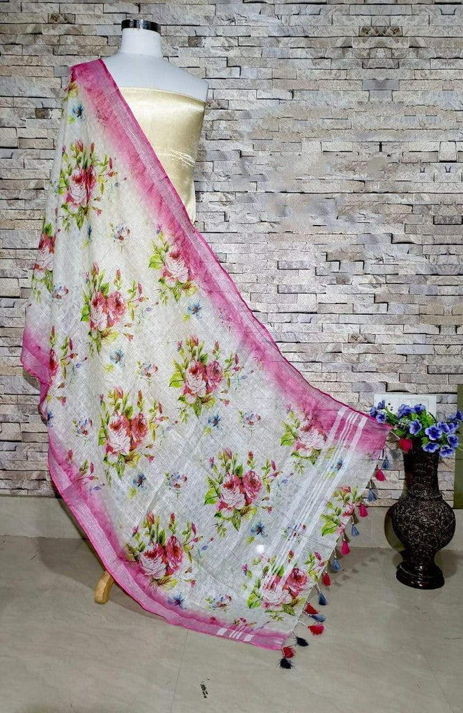 Gorgeous Pink and white Base Digital Linen Dupatta