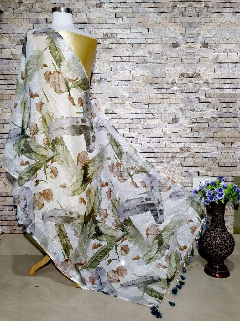 Lovely White Base Feather Design Digital Linen Dupatta_