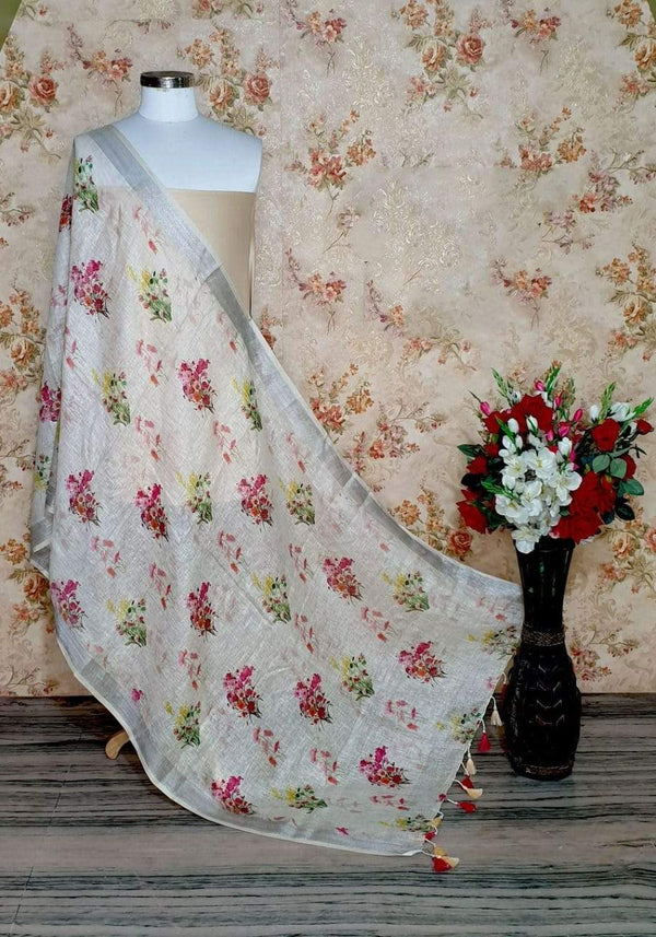 Snow White Floral Design Digital Linen Dupatta_
