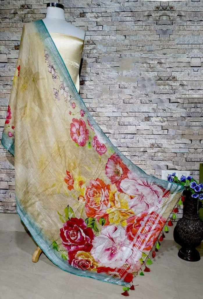 Yellow Base Floral Design with Sea green border Digital Linen Dupatta_