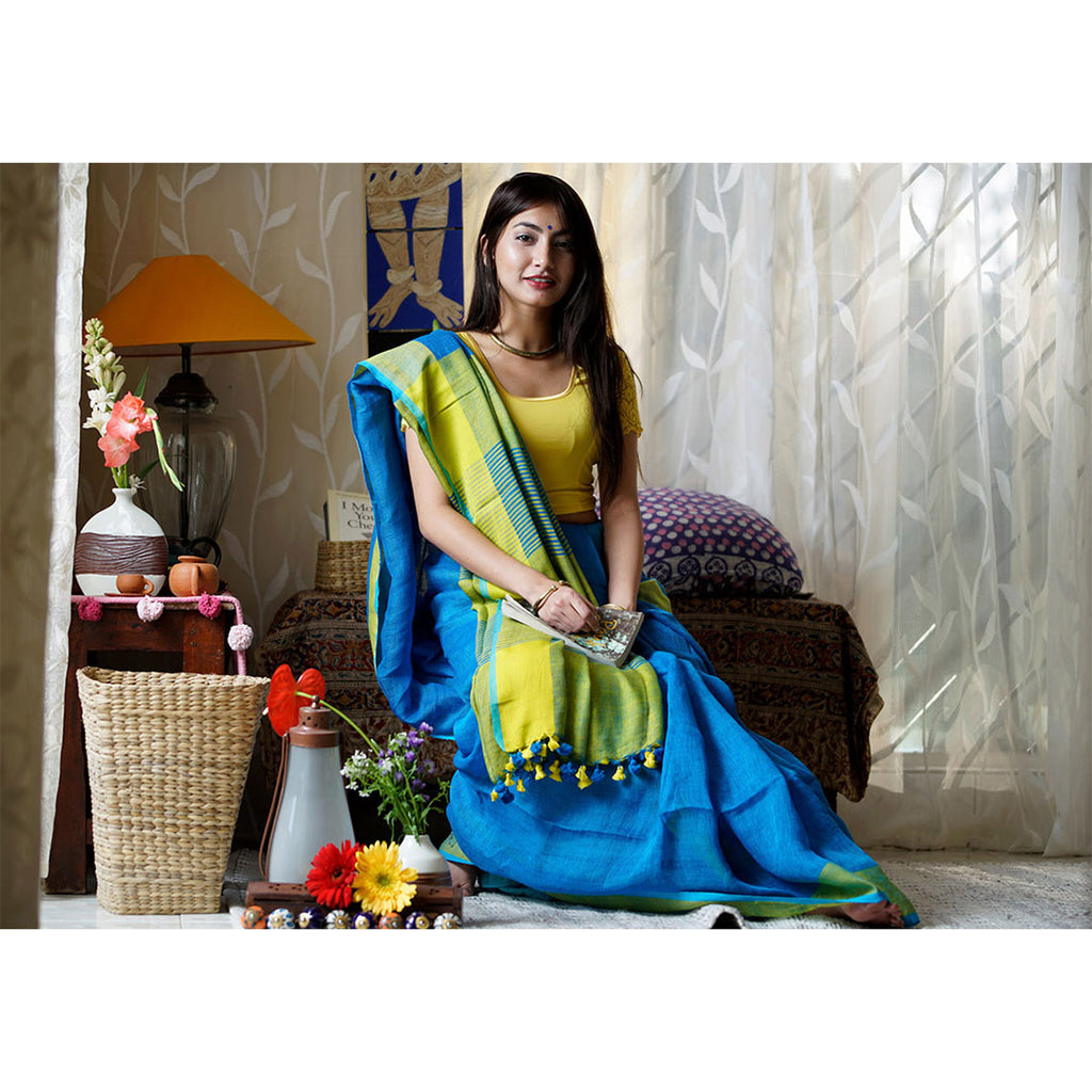 Beautiful Neon Blue Premium Linen Saree