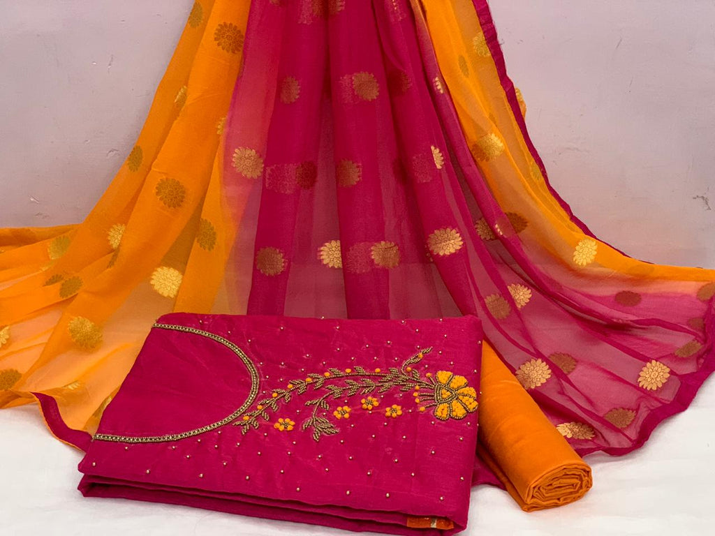 Radiant Pink And Orange Colour Chanderi Cotton Embellished, Solid Salwar Suit Material  (Unstitched)
