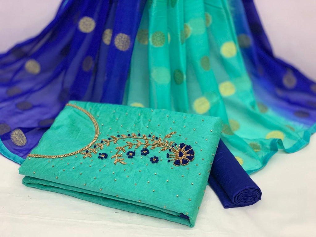 Refreshing Sea Green and Blue Colour Chanderi Cotton Embellished, Solid Salwar Suit Material  (Unstitched)