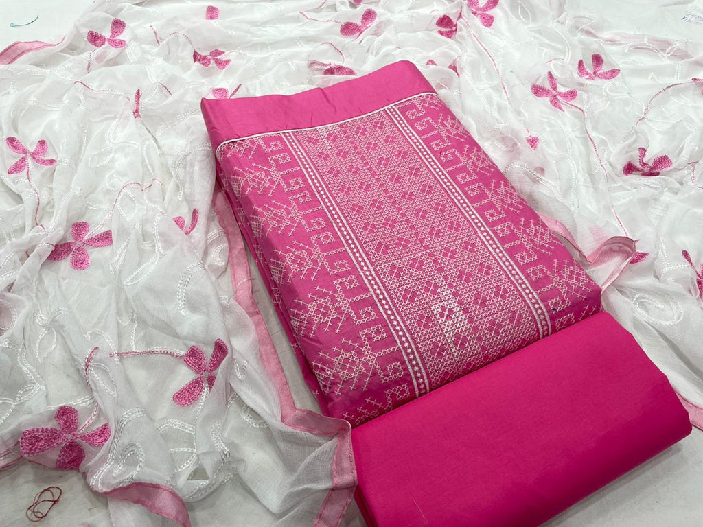Fab Pink Coloured Cotton Embroidered, Solid Salwar Suit Material  (Unstitched)