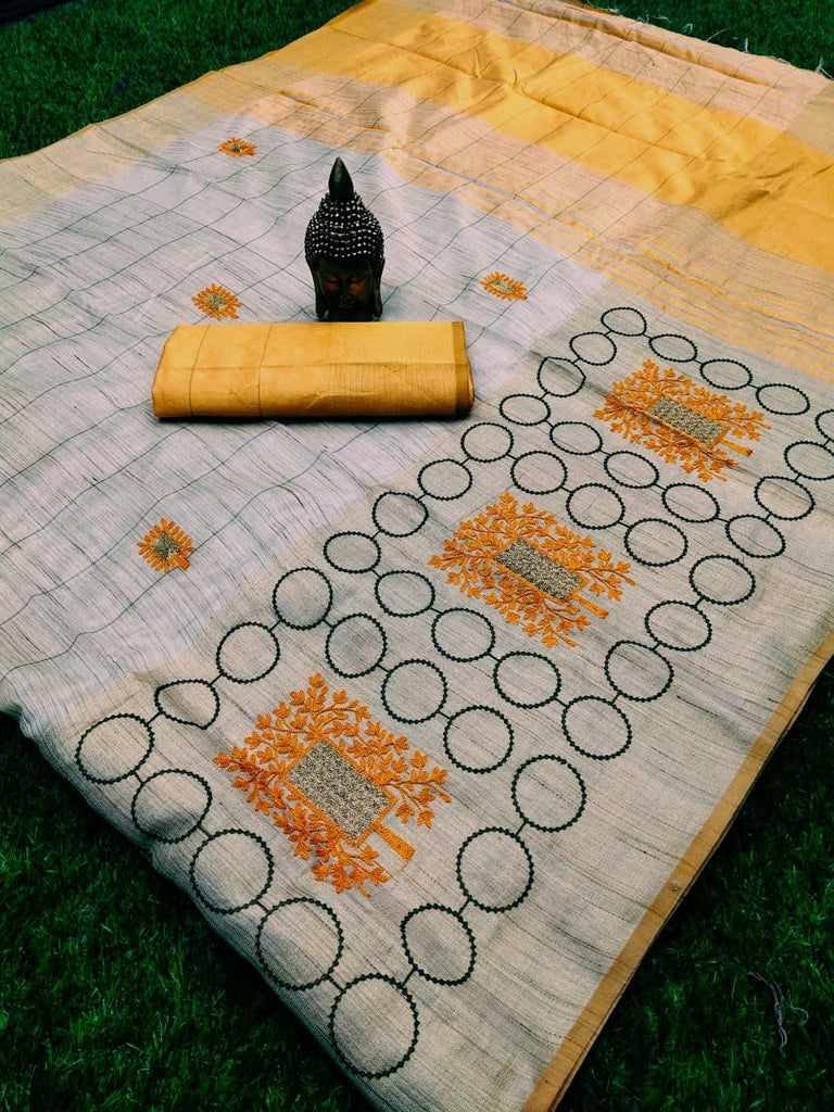Exceptional Yellow Colored Partywear Embroidered Handloom Cotton Silk Saree
