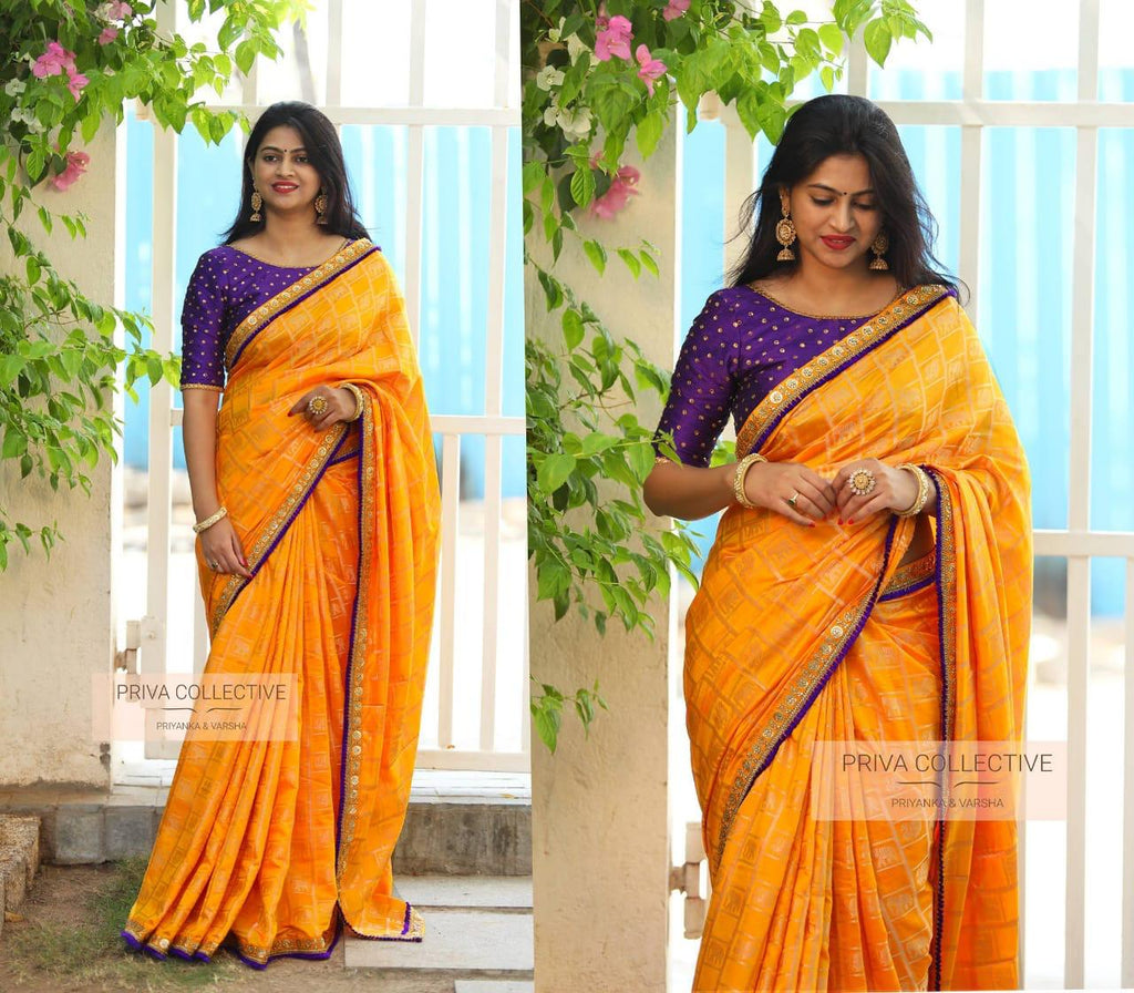 Attractive Yellow colour Printed Dyed Silk Jacquerd Saree