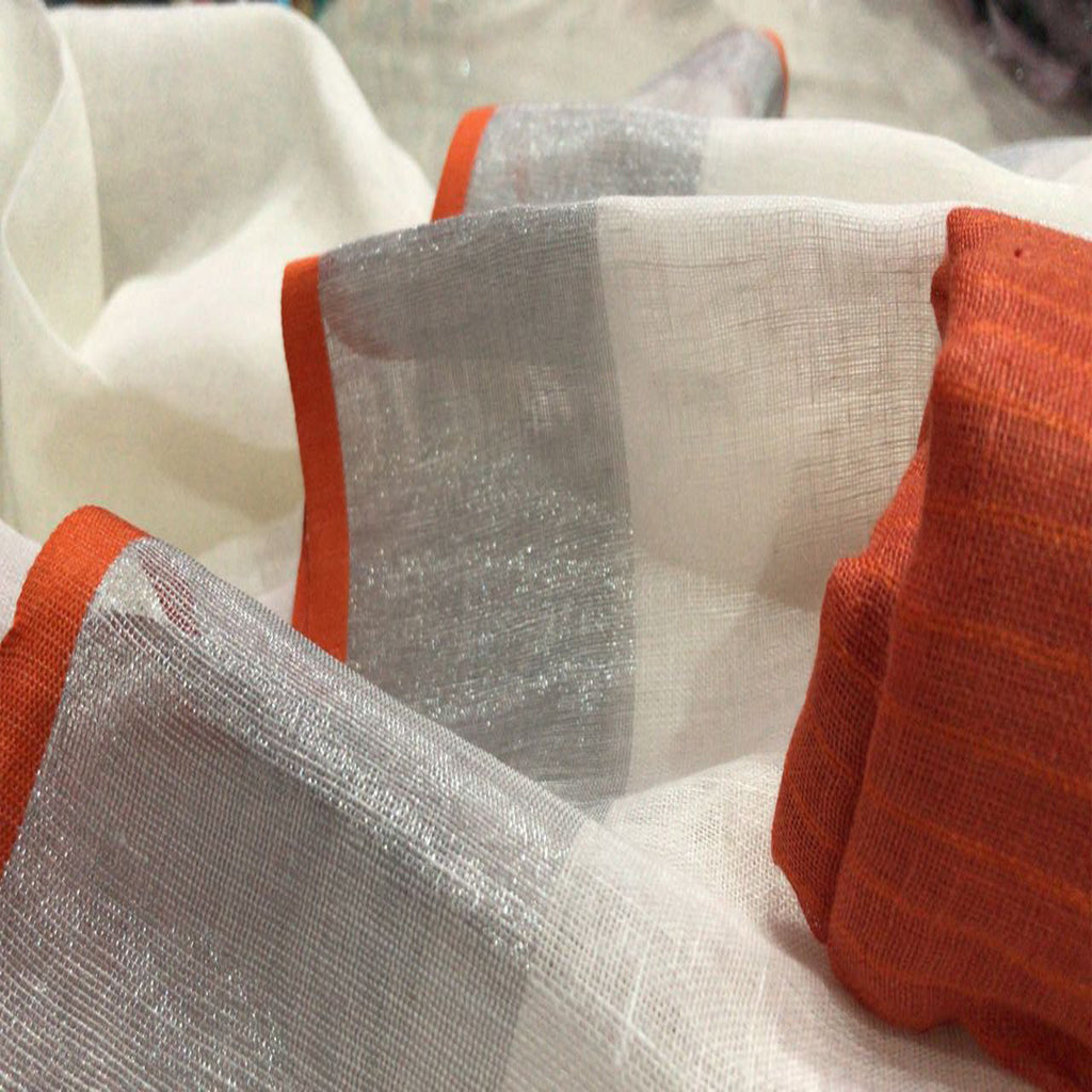 Latest Orange Border Pure Plain Lenin Sarees with contrast blouse