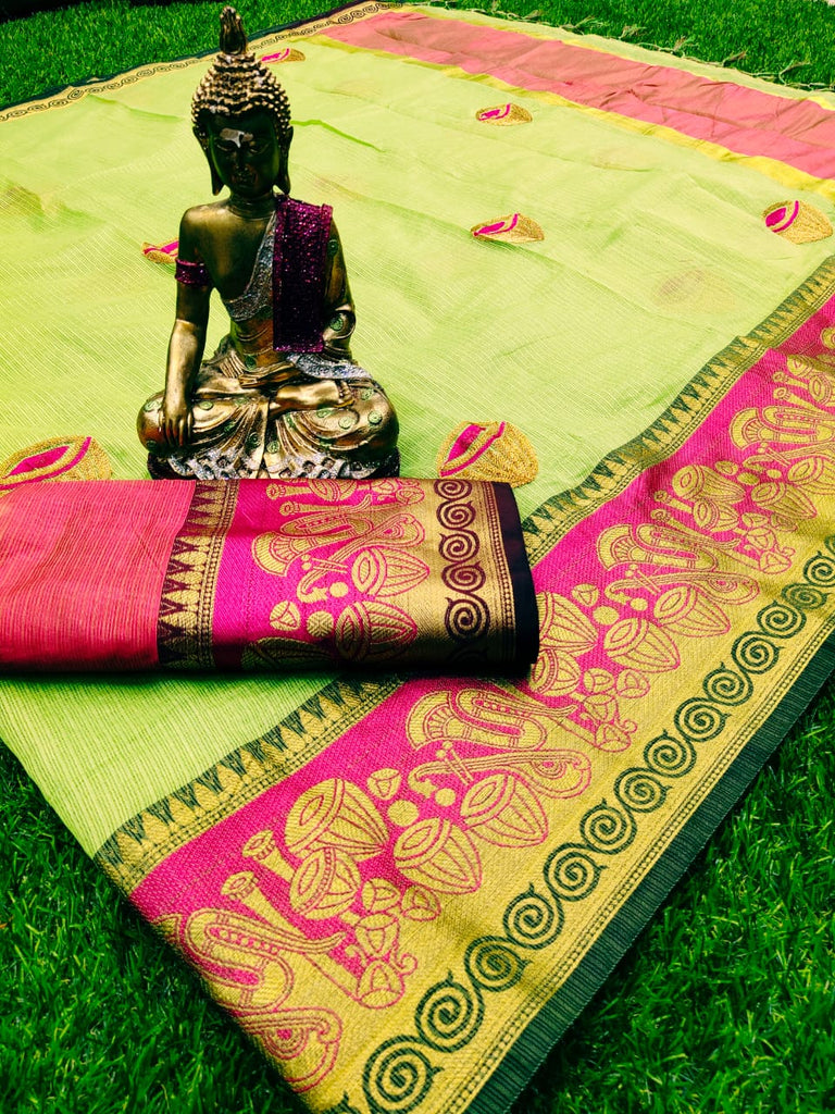 Elegant Pista And Pink Colored Festive  viving border saree With Chainstich Work
