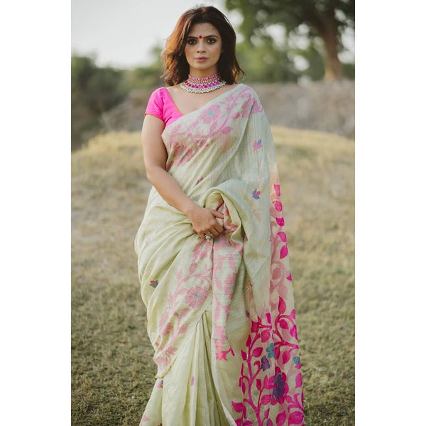 Desirable Off White  &Pink  Linen Designer Embroidered Saree