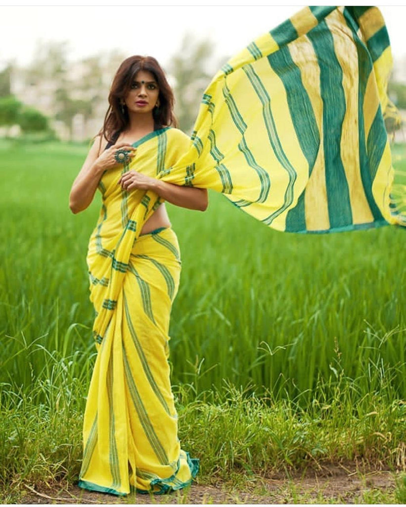 Adorning Yellow Linen Designer Embroidered Saree
