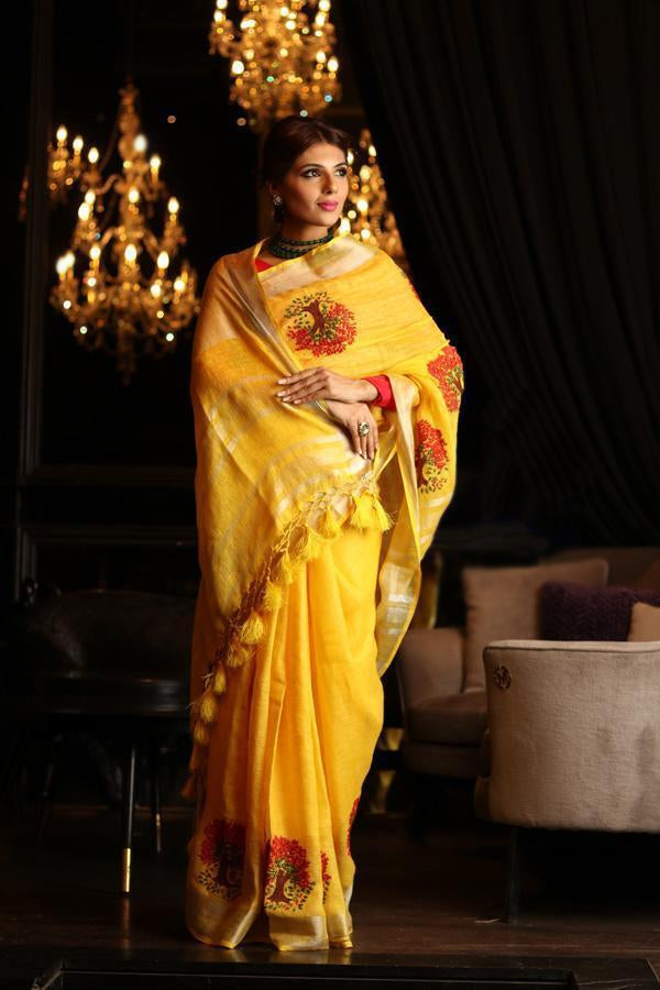 Blooming Yellow Colored Festive Wear Linen Saree
