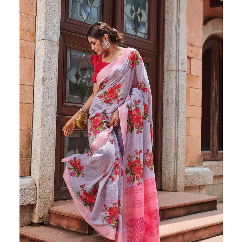 Lovely Light Purple Colored Printed  Pure Linen Saree For Women