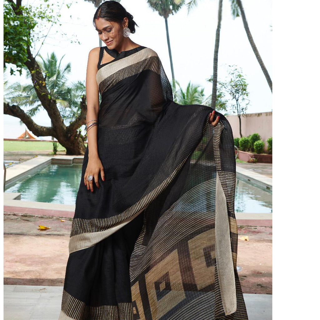 Gorgeous Black Colored Printed  Pure Linen Saree For Women