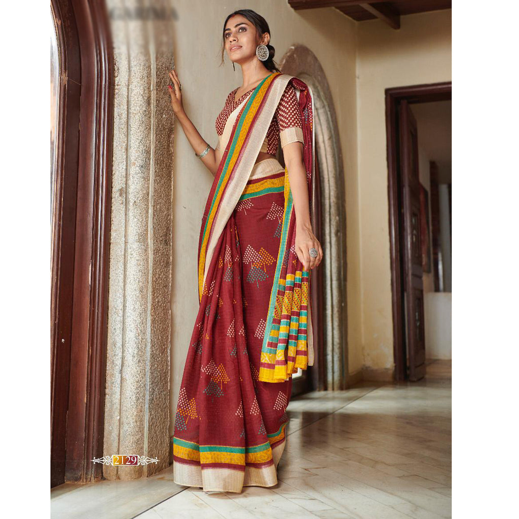 Engrossing Red Colored Printed  Pure Linen Saree For Women