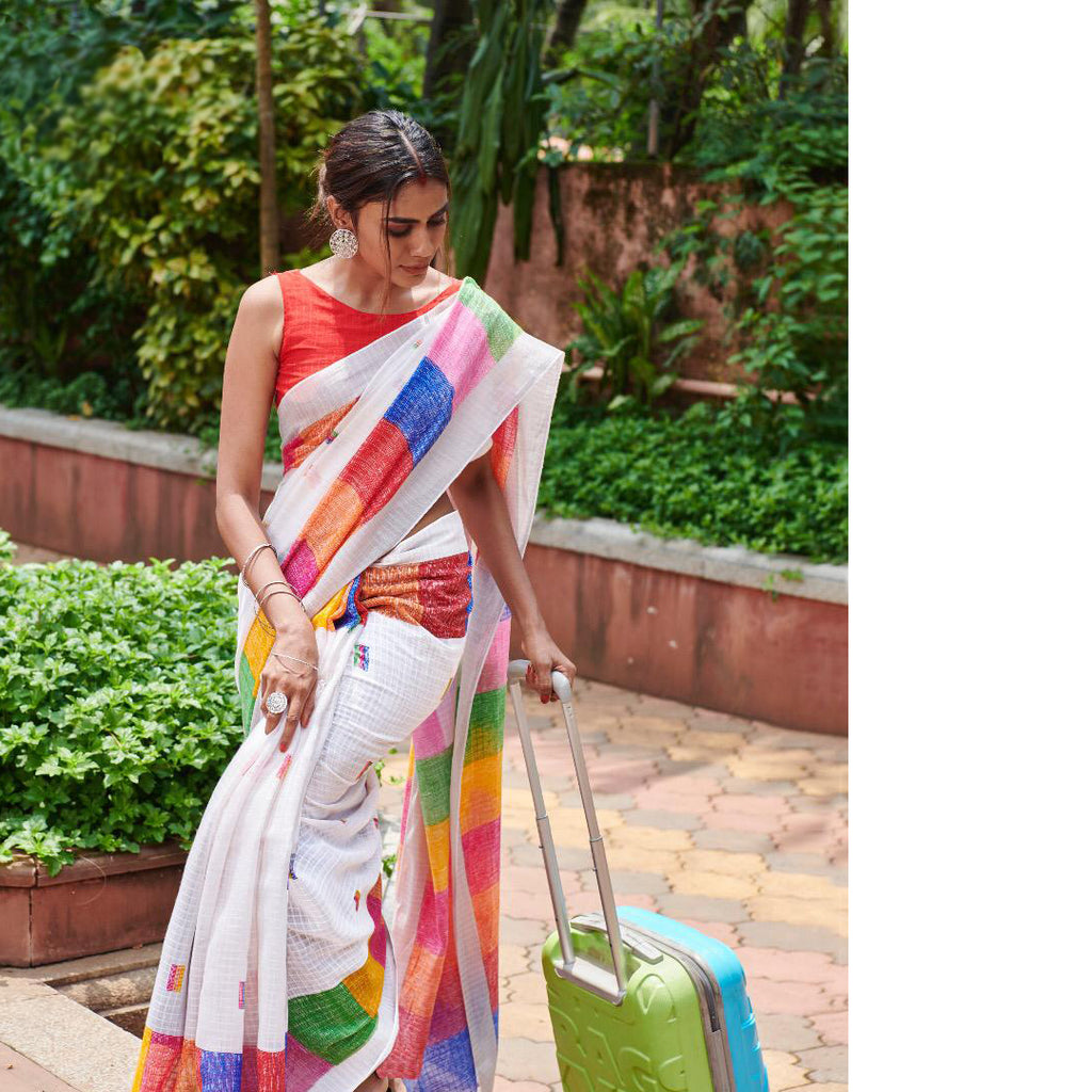 Opulent White And Red Colored Printed  Pure Linen Saree For Women