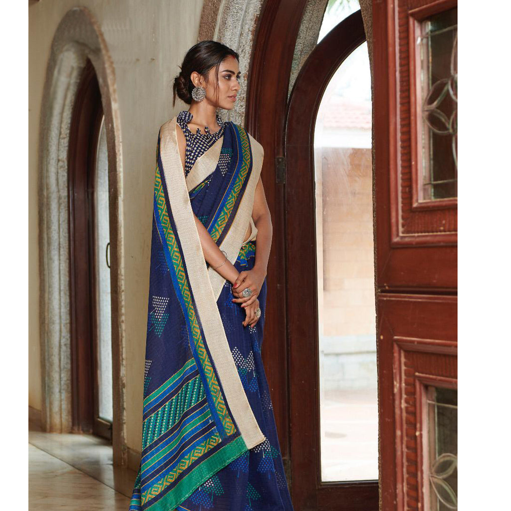 Stunning NavyBlue Colored Printed  Pure Linen Saree For Women