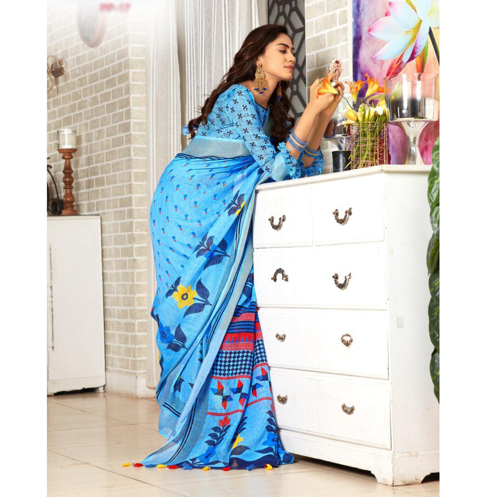 Trendy SkyBlue Colour Printed  Pure Linen Saree For Women