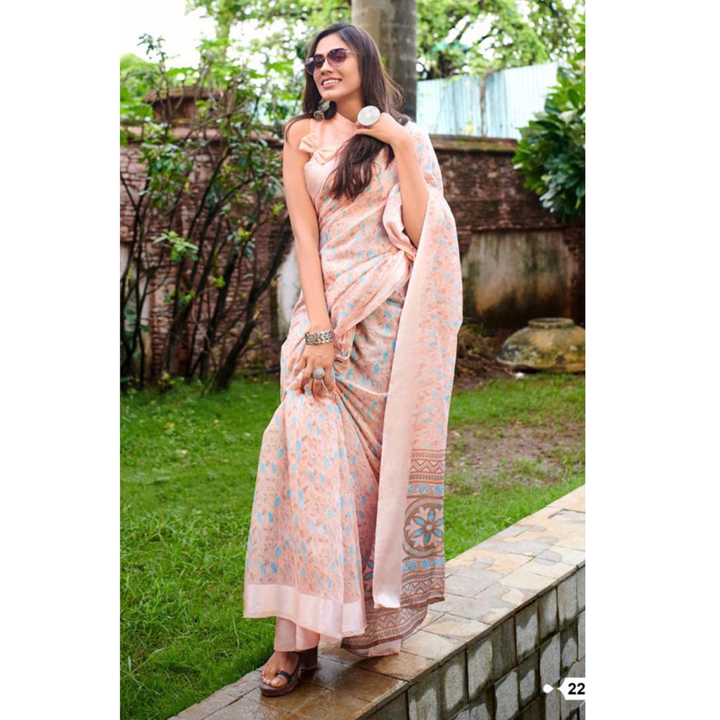 Fantastic Peach Colour Printed  Pure Linen Saree For Women