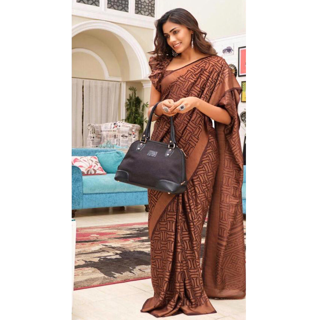 Gorgeous Brown Colour Printed  Pure Linen Saree For Women