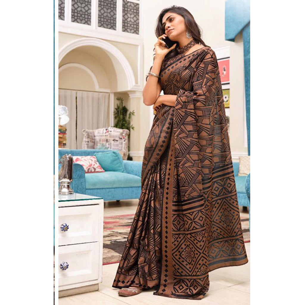 Engrossing Coffee Colour Printed  Pure Linen Saree For Women