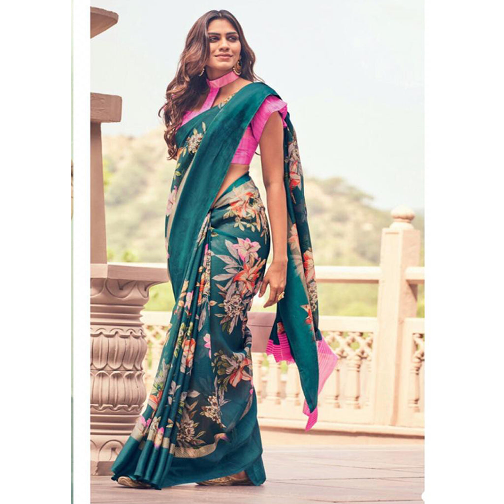 Wonderful Dark Green And Pink Colour Printed  Pure Linen Saree For Women