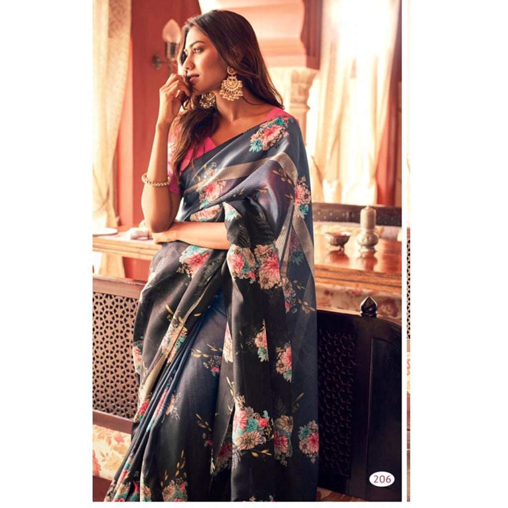 Fantastic NavyBlue Colour Printed Pure Linen Saree For Women