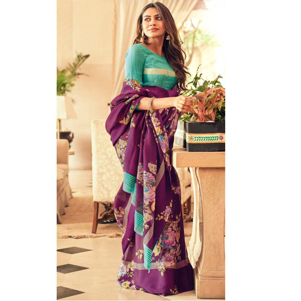 Ideal Purple Colour Printed Pure Linen Saree For Women