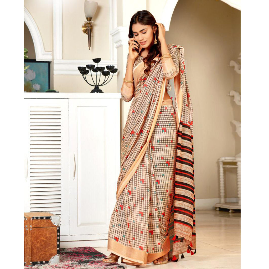 Gorgeous Grey And Peach Colour Printed Pure Linen Saree For Women