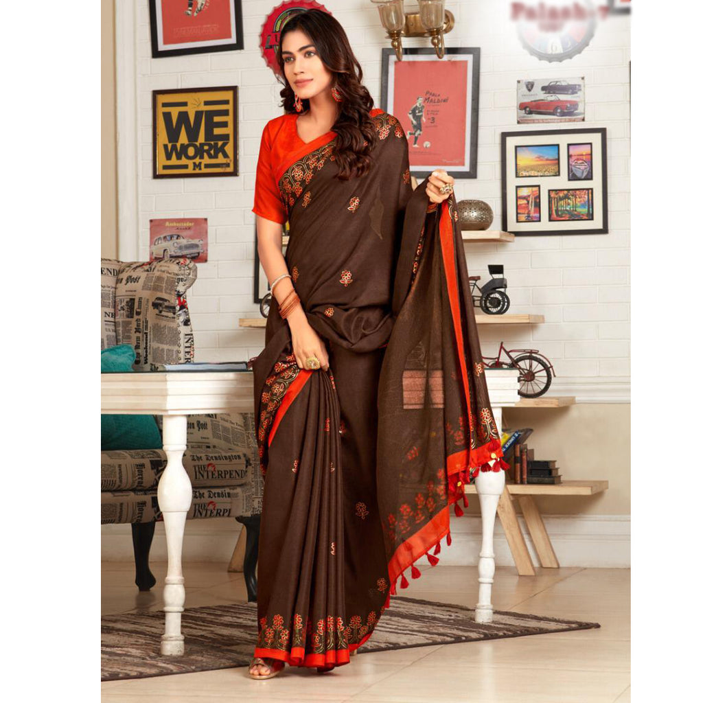 Mesmerising Coffee And Orange Colour Printed Pure Linen Saree For Women