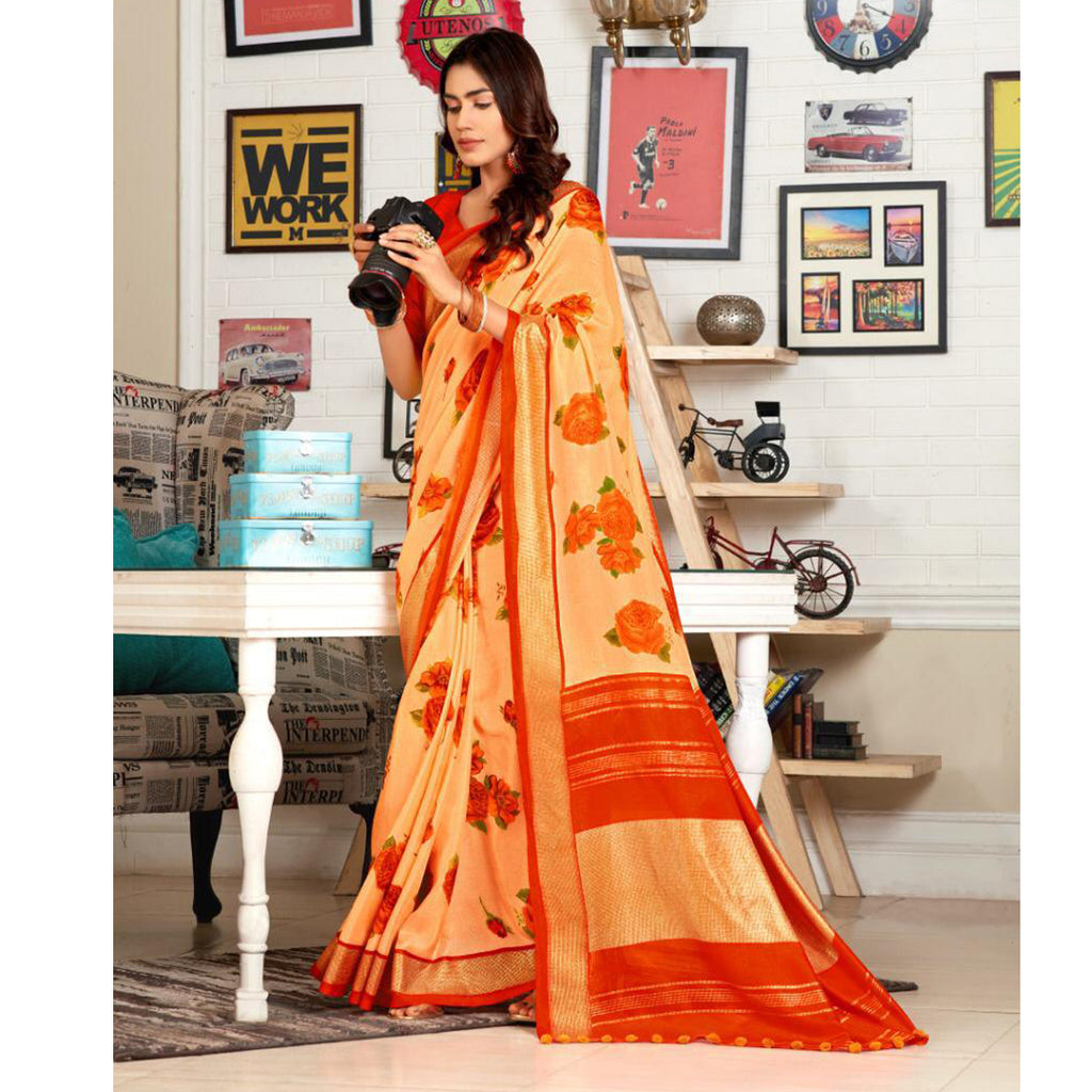 Stunning Peach And Orange Colour Printed Pure Linen Saree For Women