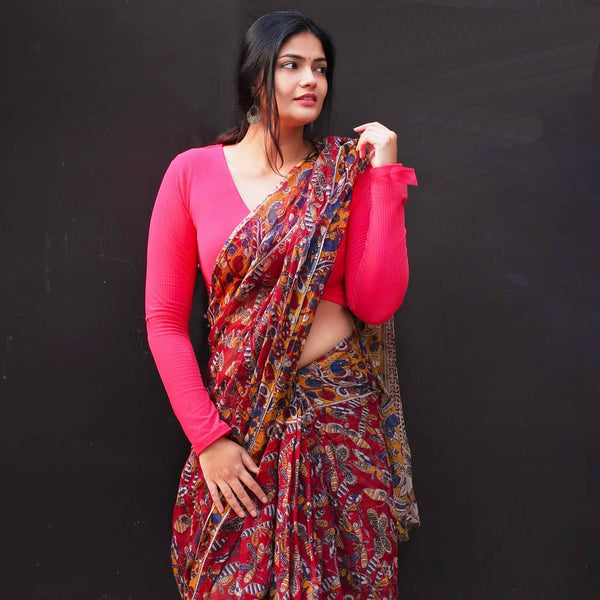 Fantastic Red Colour Printed Pure Linen Saree For Women