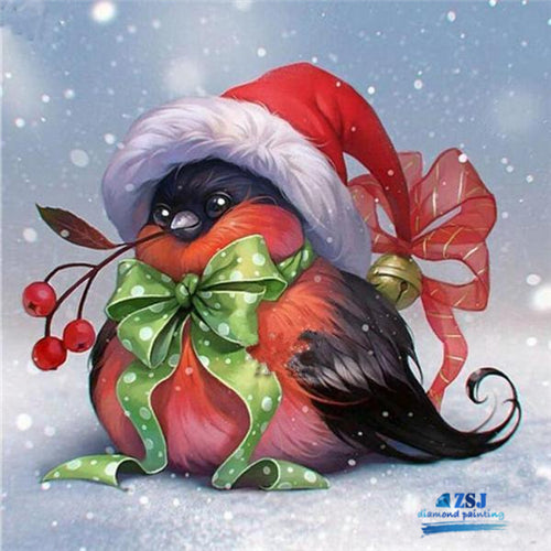 Christmas Bird in Hat