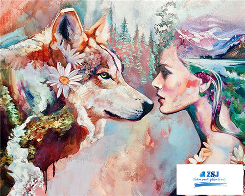 Wolf and Beauty Girl