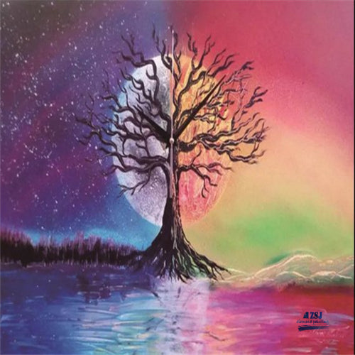 Colorful Oil Painting Tree