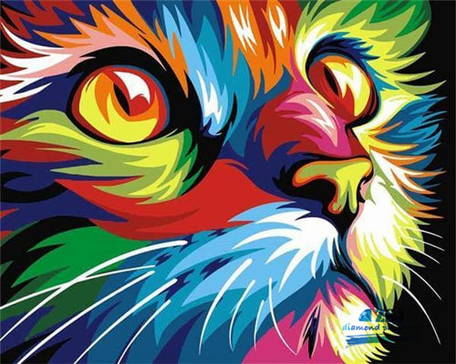 Colored Abstract Cat
