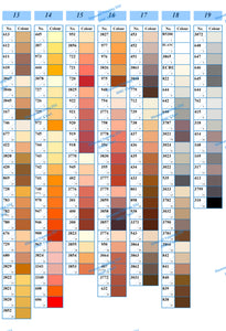 DMC Colour Chart Canvas(with colour shade square)