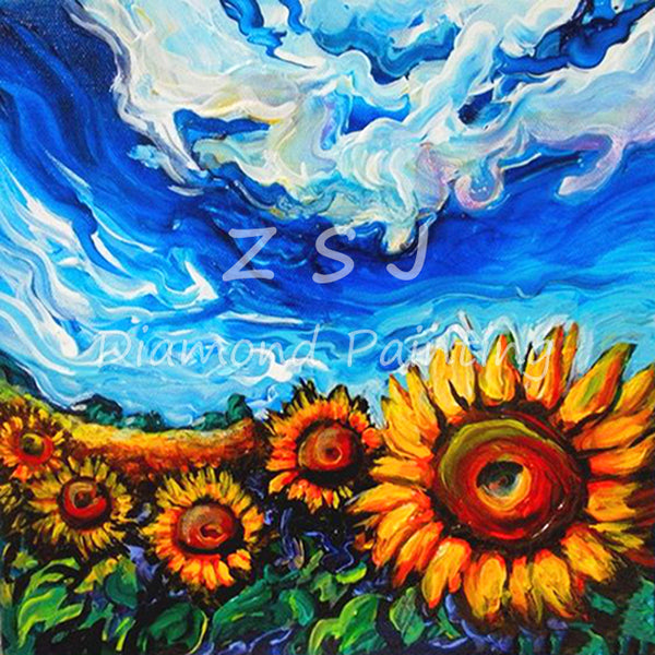 Sunflowers Under Sky