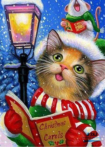 Christmas Cat-Diamond Painting Kit