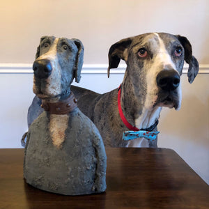 Ceramic great dane sculpture with real live great dane
