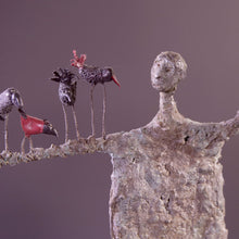 Load image into Gallery viewer, Concrete sculpture man with birds