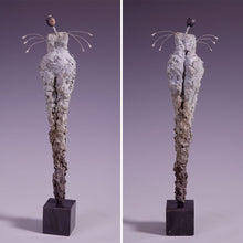 Load image into Gallery viewer, Concrete female figure sculpture with wire arms