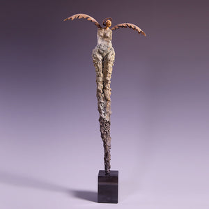 Concrete sculpture female figure with wings