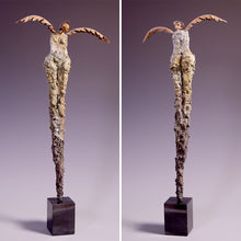 Load image into Gallery viewer, Concrete sculpture female figure with metal wings